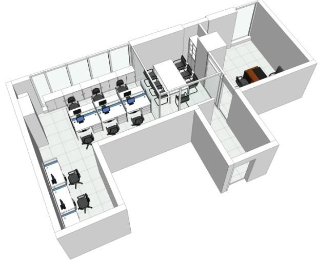 这套办公室装修立体效果图的绘制案例是飞雕商务大厦办公室设计时绘制