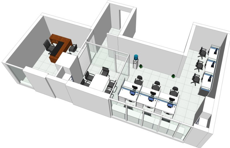 办公室装修立体效果图墙纸一双十图片图片